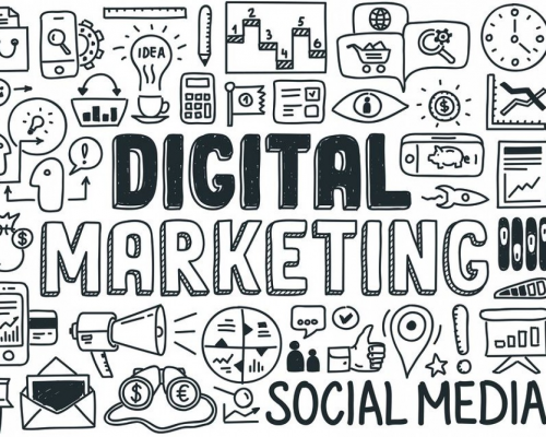 digital marketing jargon image - black and white